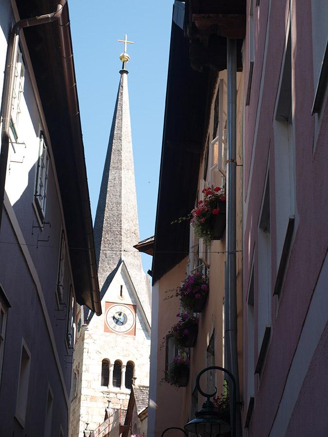 Blick auf die evangelische Kirche