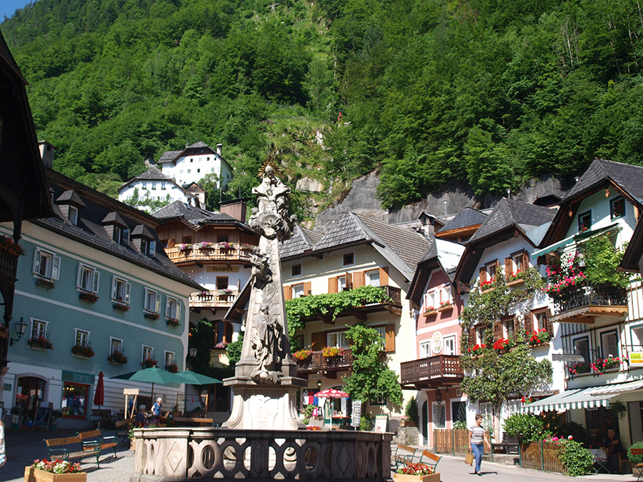 The beautiful Market Square in  Hallstatt