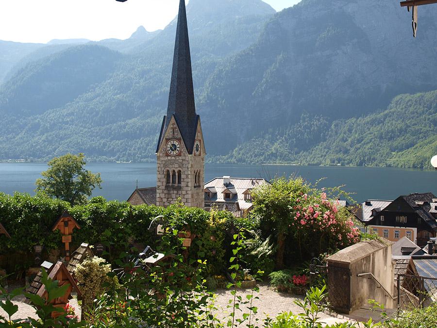 Blick zur evangelischen Christuskirche