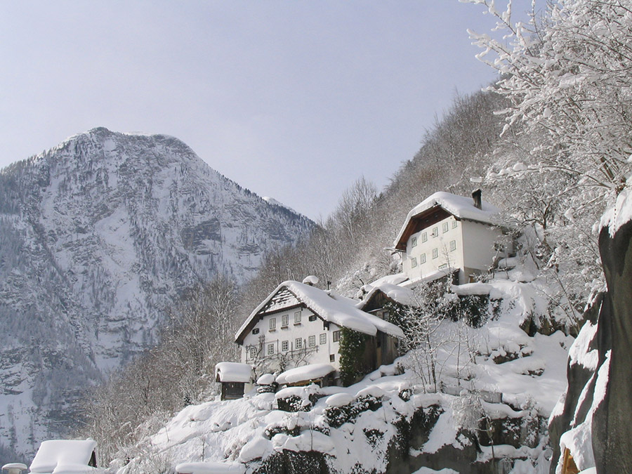 The highest houses of Hallstatt in Winter