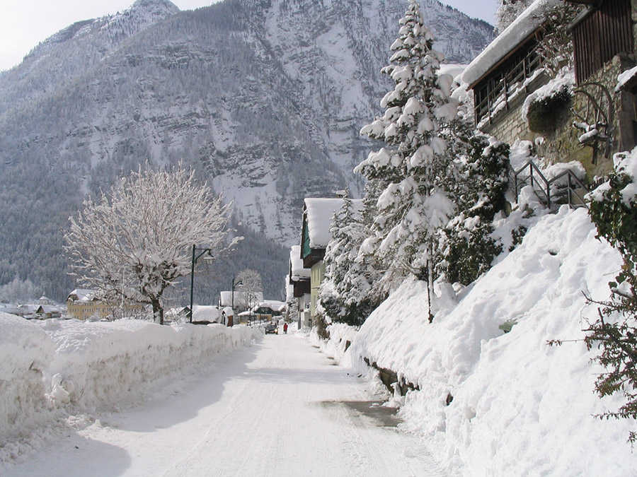 Hallstatt, Snowy Street at the Lake